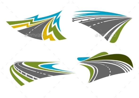 Mountain, Rural, Coastal Roads And Highways Icons - Travel Conceptual