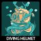 Diving Helmet T-shirt Design - GraphicRiver Item for Sale
