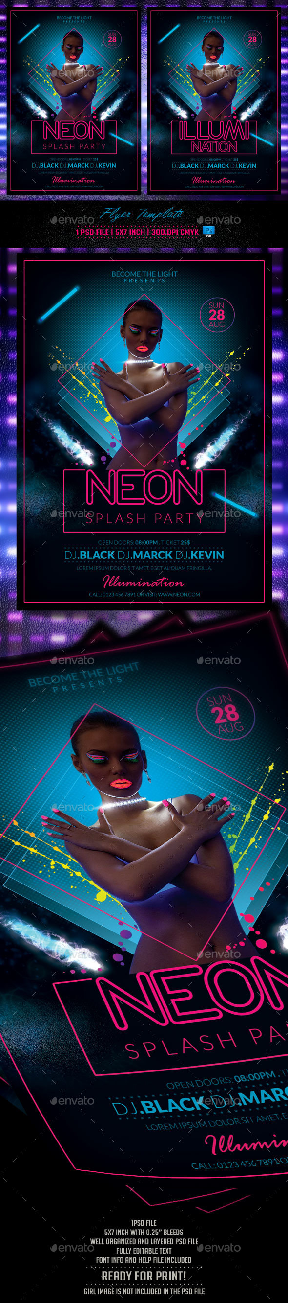 Neon Party Flyer Template - Flyers Print Templates