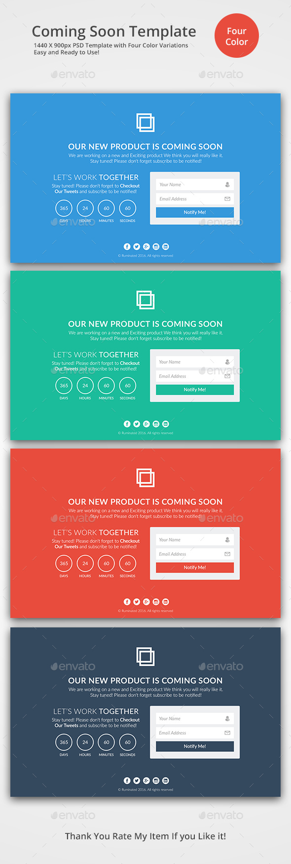 Flat Design Coming Soon Template - 404 Pages Web Elements