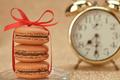 Macarons. Gold stylish alarm clock, breakfast time - PhotoDune Item for Sale