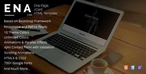 ENA – One Page vCard Template