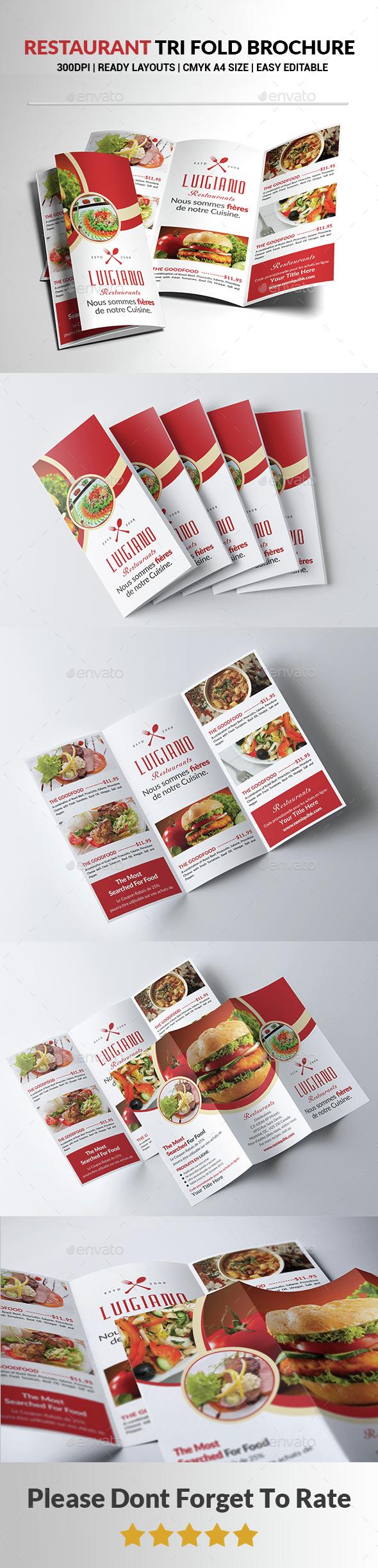 Restaurant Tri Fold Brochure  - Brochures Print Templates