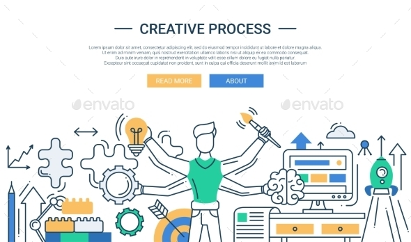 Creative Process Line Design Banner With Many - Backgrounds Business