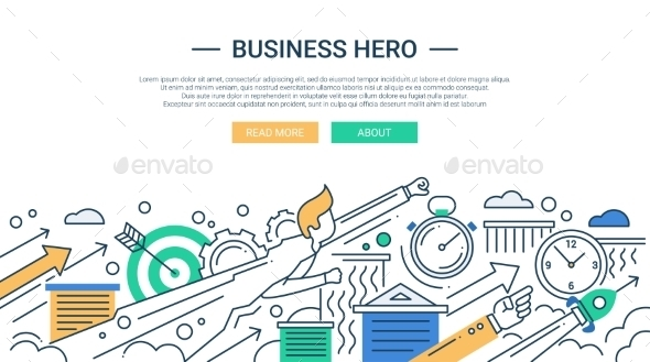 Business Hero Line Flat Design Banner - Backgrounds Business