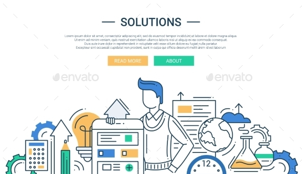 Solutions Line Flat Design Banner With a Man - Technology Conceptual