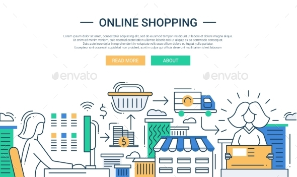 Online Shopping Line Flat Design Banner - Services Commercial / Shopping