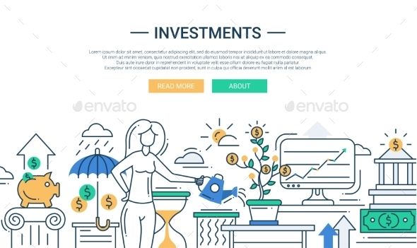 Investments Line Flat Design Banner With Female - Backgrounds Business