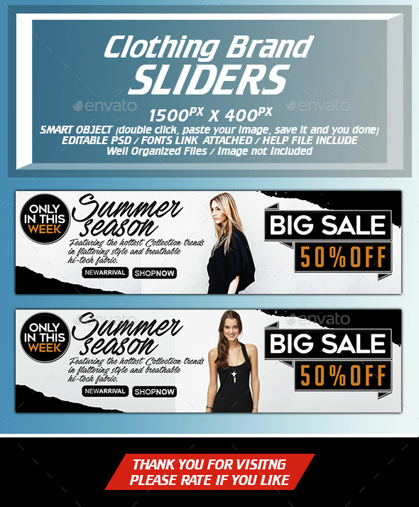 Fashion Clothing Brand - Sliders & Features Web Elements