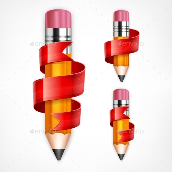 Pencils with Red Ribbons - Miscellaneous Vectors