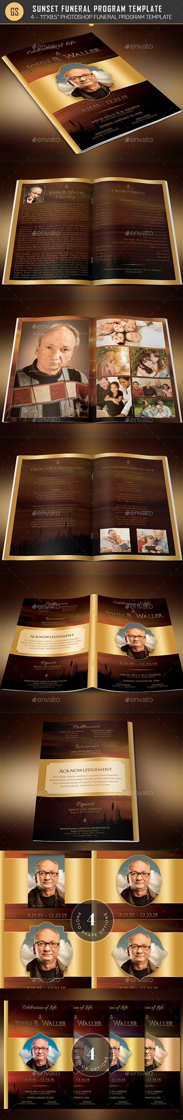Sunset Funeral Program Template  - Informational Brochures
