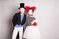 Funny mime couple. April Fools' Day - concept