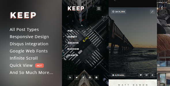 Keep – Responsive Fullscreen Grid Theme