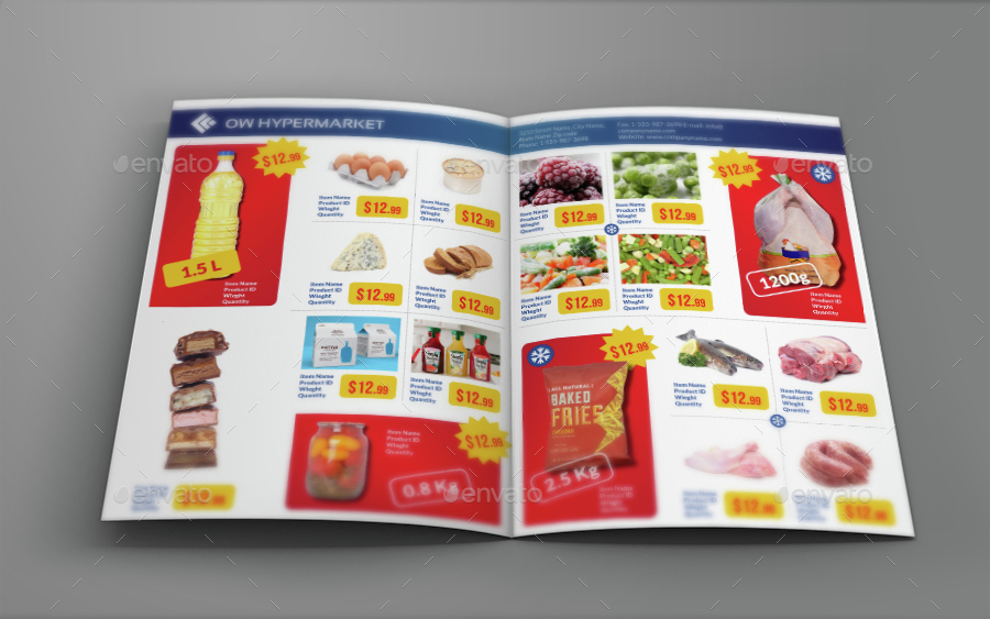 Supermarket Products Catalog Bi Fold Brochure Vol2 By Owpictures