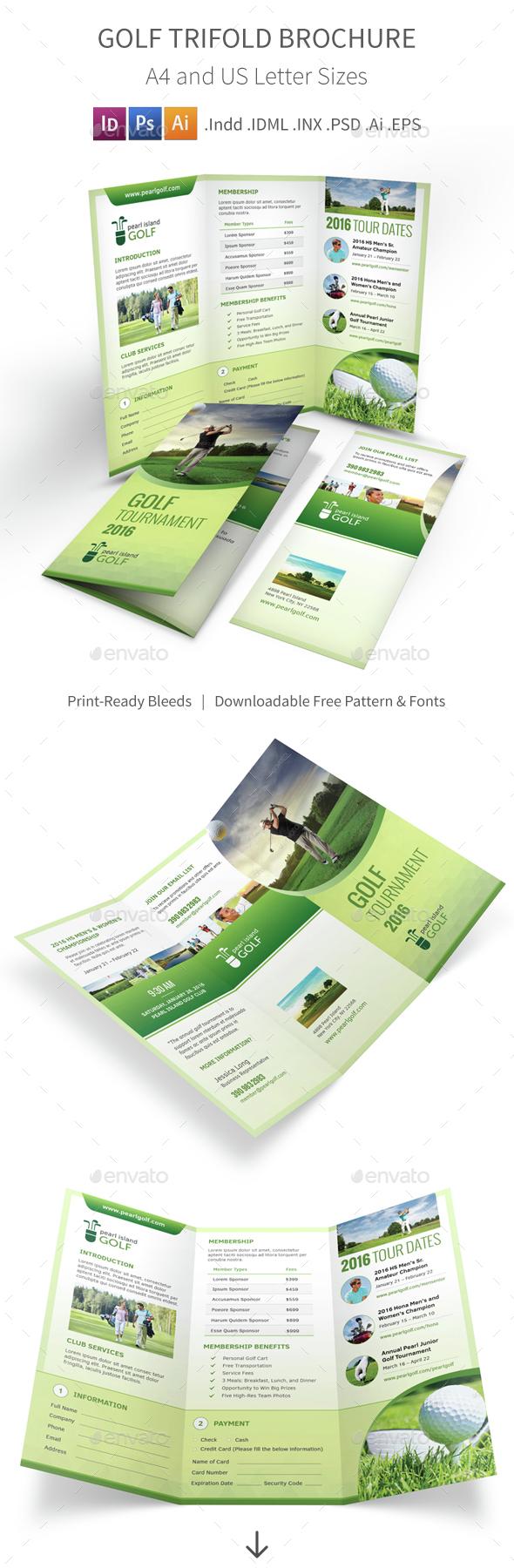 Golf Club Trifold Brochure - Informational Brochures