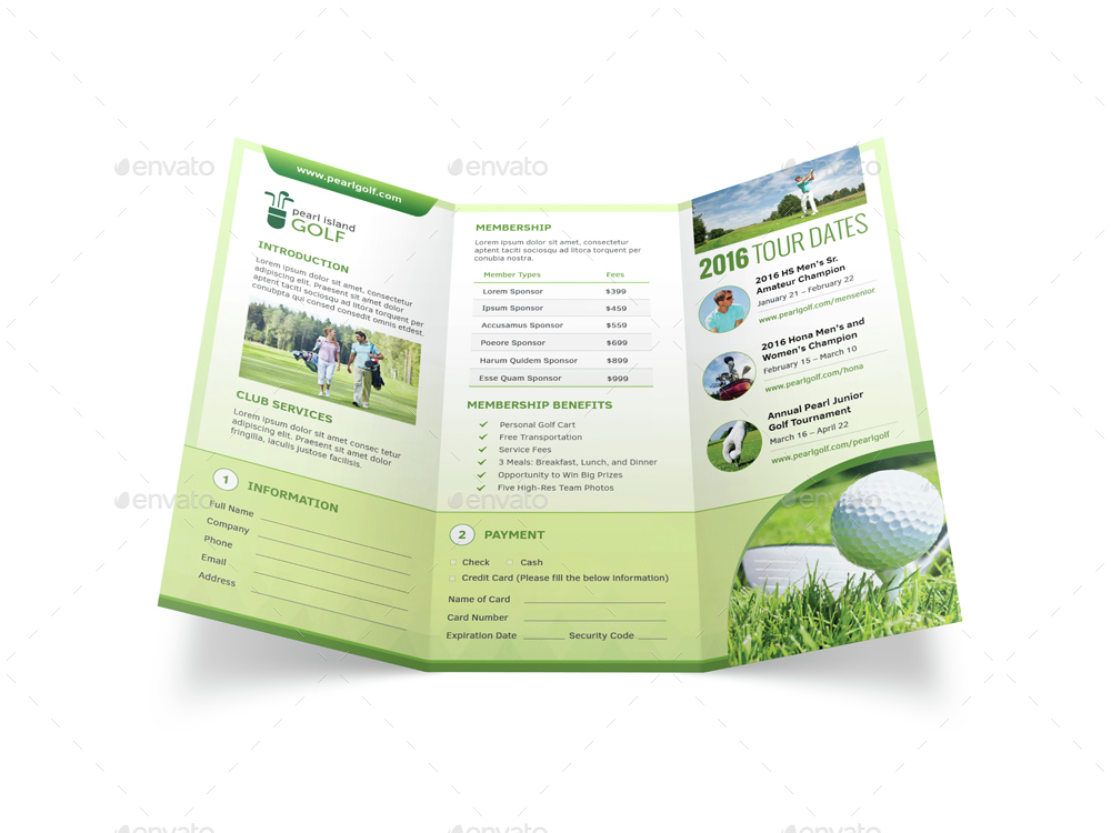 Golf Club Trifold Brochure by Mike_pantone | GraphicRiver