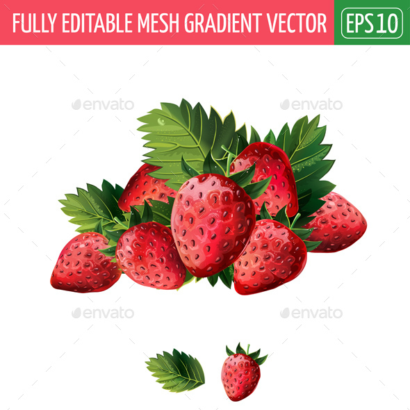 Red Strawberries With Leaves - Food Objects