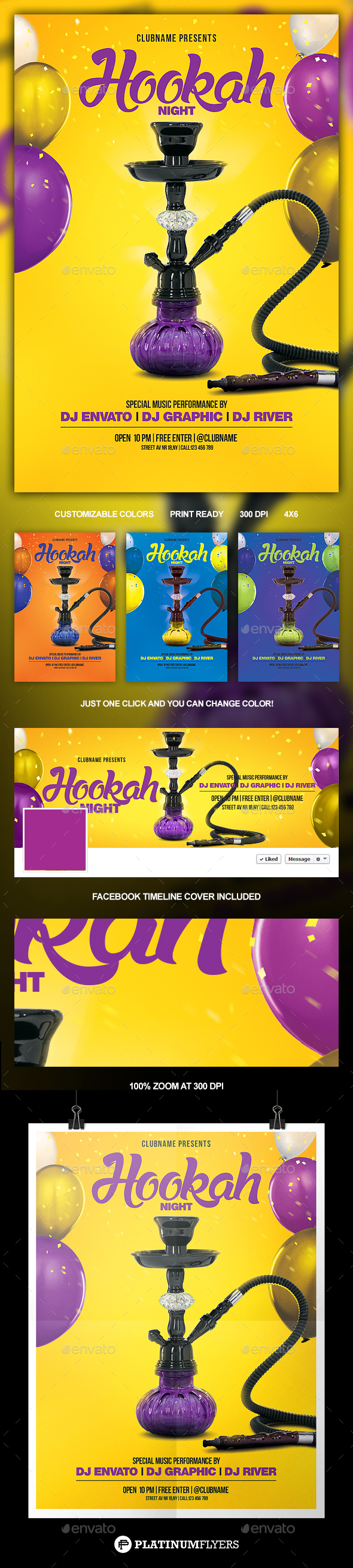 Hookah Night Flyer - Print Templates