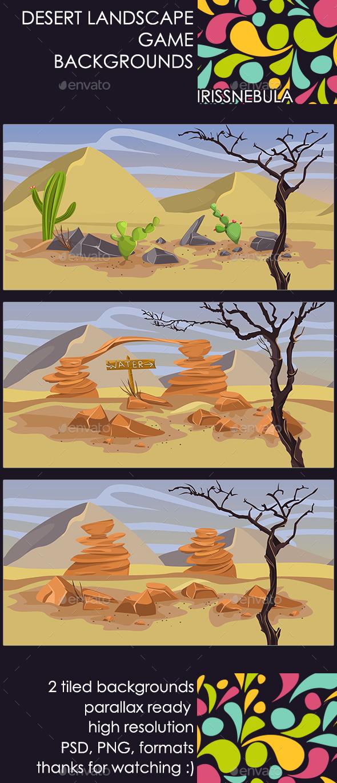 2 Desert Landscape Backgrounds - Backgrounds Game Assets