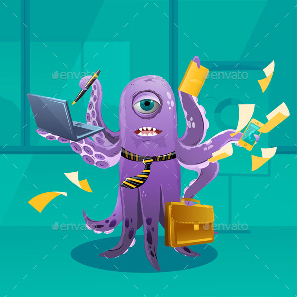 Cartoon Octopus Moster as a Boss - Monsters Characters