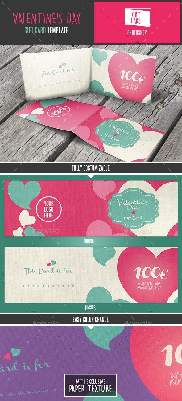 Valentine's Day Gift Card / Coupon Template - Loyalty Cards Cards & Invites