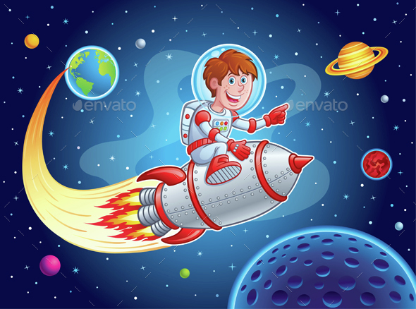 Rocket Boy Blasting from Earth to Outer Space - Retro Technology