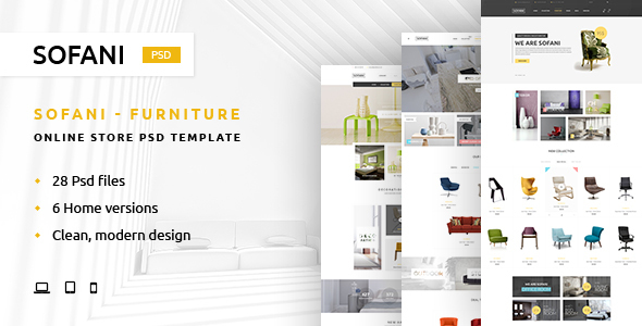Sofani – Furniture Store PSD Template