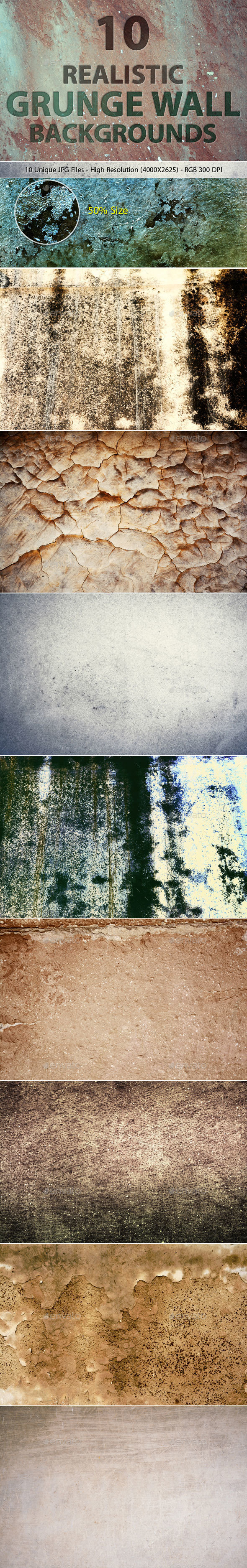 Realistic Grunge Wall Backgrounds - Backgrounds Graphics