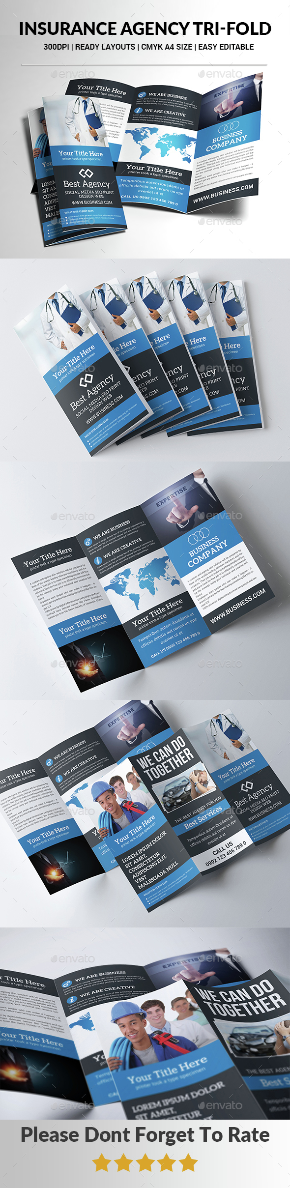 Insurance Agency Tri-Fold  - Brochures Print Templates