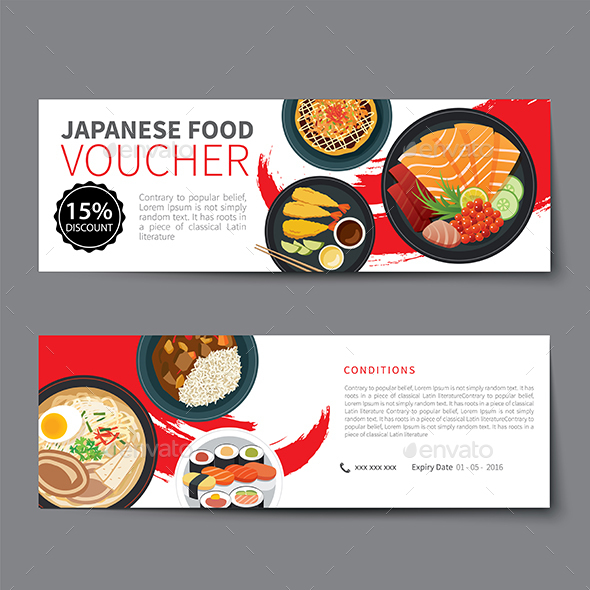 Japanese Food Voucher Discount Template Flat Design - Food Objects