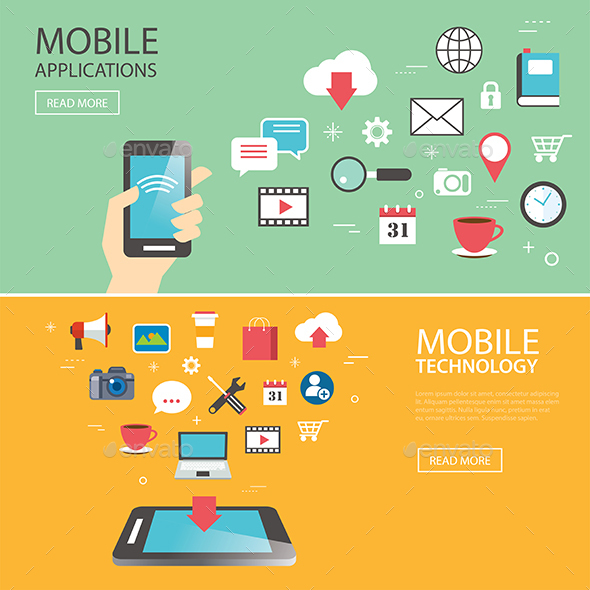 Mobile Application Technology Banner Template Flat Design - Technology Conceptual