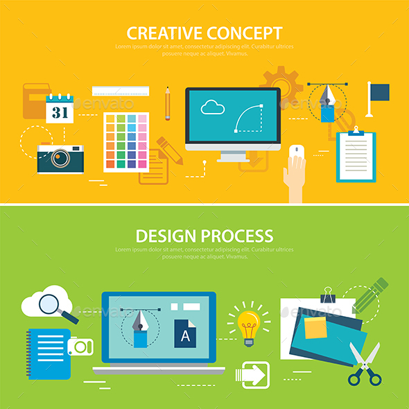 Design Process and Creative Concept Banner Flat Design - Technology Conceptual
