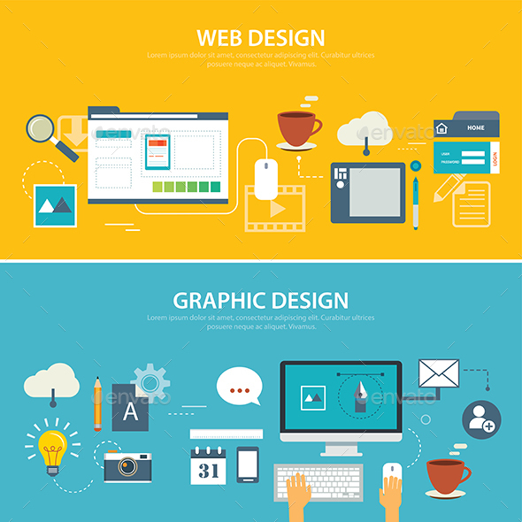 Web and Graphic Banner Flat Design - Technology Conceptual