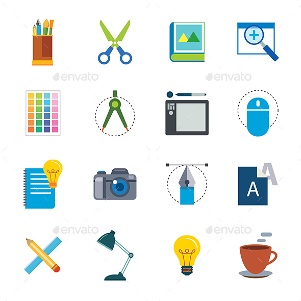 Designer Tools Flat Icon - Web Elements Vectors