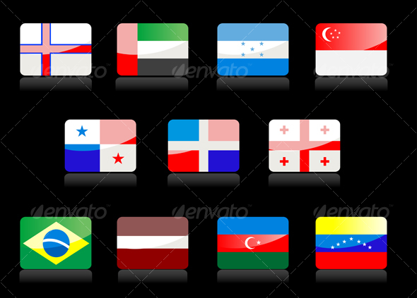 Glossy national flags - Decorative Vectors