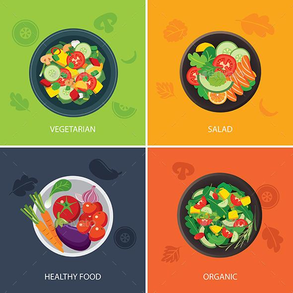Food Web Banner Flat Design. Vegetarian , Organic Food, Healthy Food - Food Objects