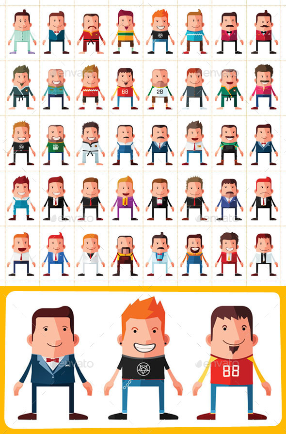 40 Flat Style Avatar - People Characters