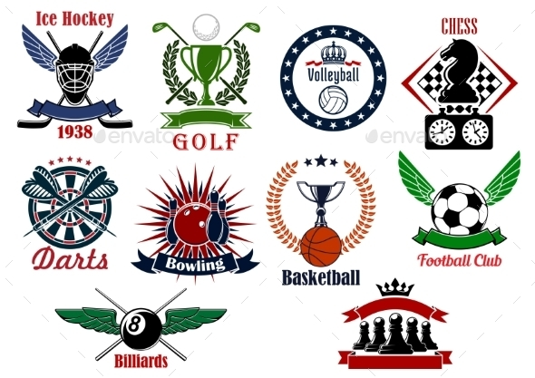 Spors Games Icons, Emblems And Tournament Badges - Sports/Activity Conceptual