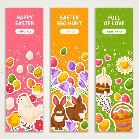 Happy Easter Vertical Banners Set  - Miscellaneous Seasons/Holidays