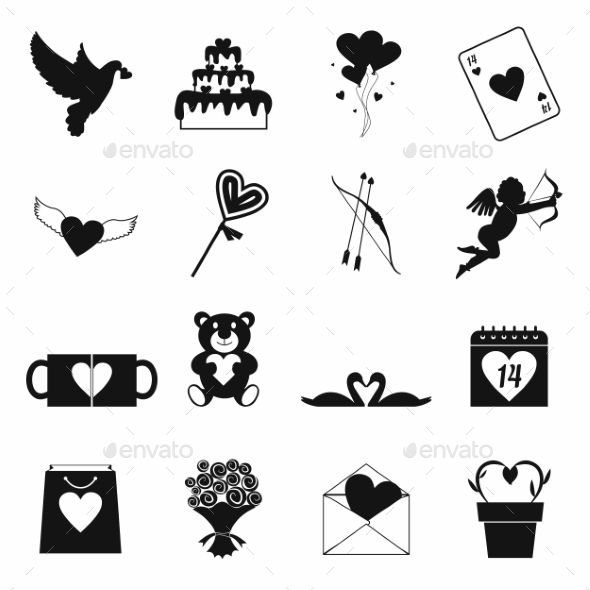 Valentines Simple Icons Set - Miscellaneous Icons