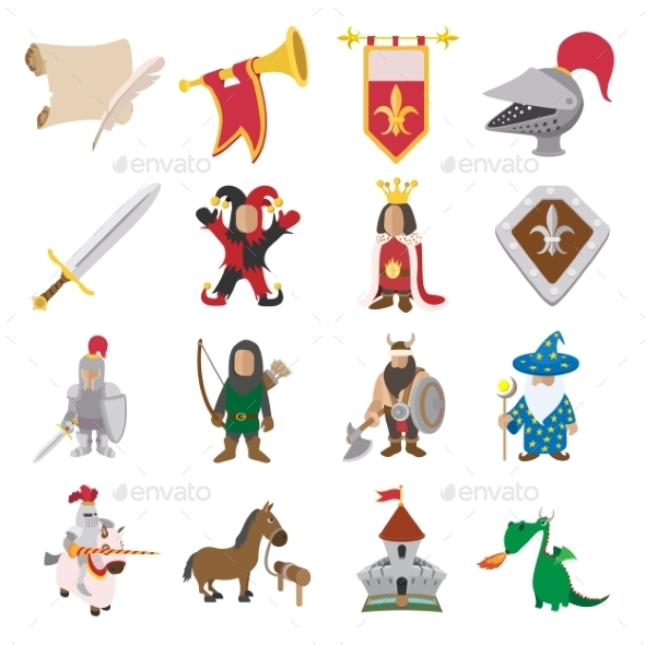 Medieval Cartoon Icons Set - Miscellaneous Icons