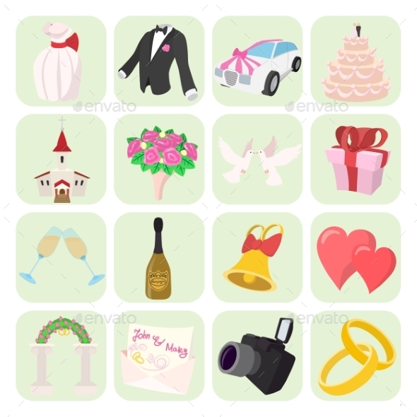 Wedding Cartoon Icons Set - Miscellaneous Icons