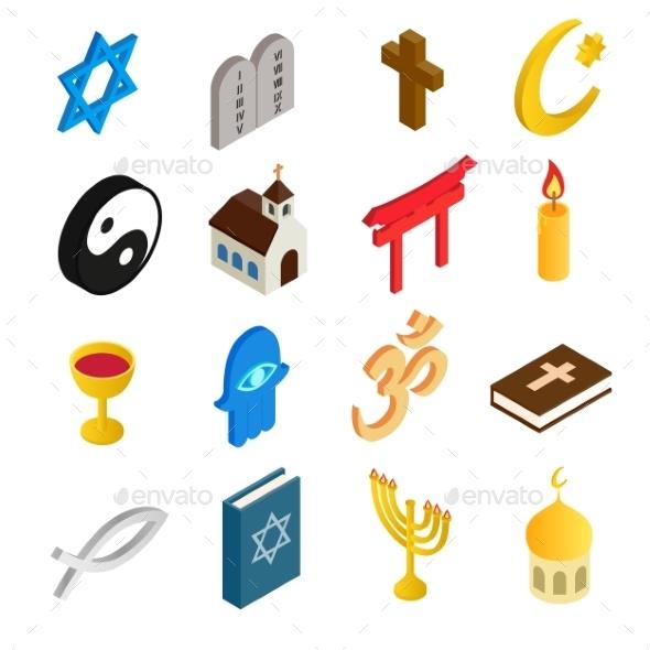 Religion Isometric 3d Icons Set - Miscellaneous Icons