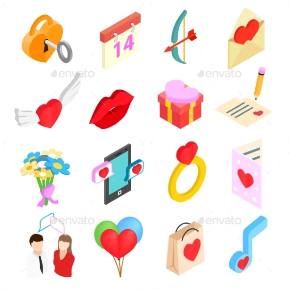 Valentines Isometric 3d Icons Set - Miscellaneous Icons