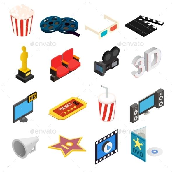 Cinema Isometric 3d Icons Set - Miscellaneous Icons