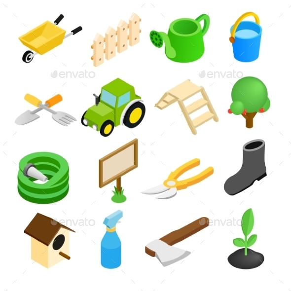 Garden Isometric 3d Icons Set - Miscellaneous Icons