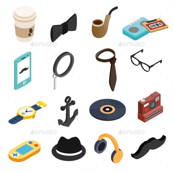 Hipster Style Isometric 3d Icons Set  - Miscellaneous Icons