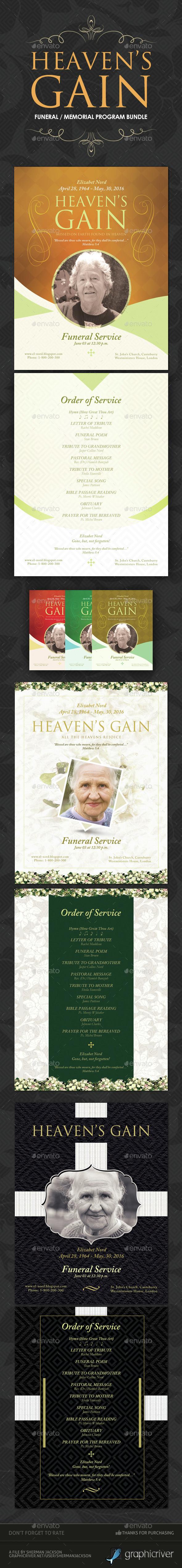 Funeral / Memorial Program Templates - BUNDLE - Miscellaneous Print Templates