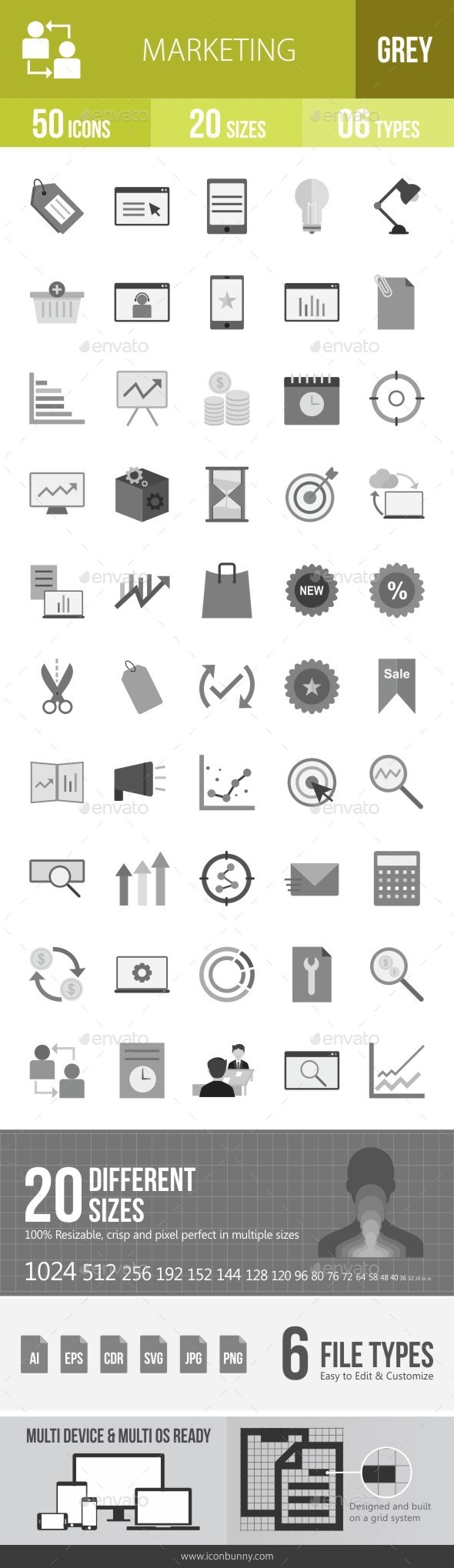 Marketing Greyscale Icons - Icons