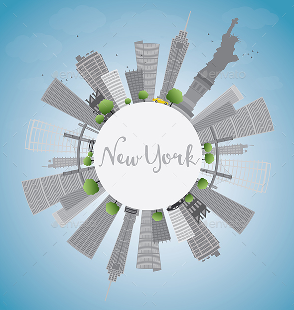 New York Skyline with Gray Buildings, Blue Sky and Copy Space. - Buildings Objects